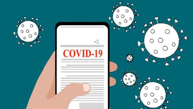Ilustração mostra celular exibindo a palavra 'covid-19' com ilustrações de coronavírus ao lado