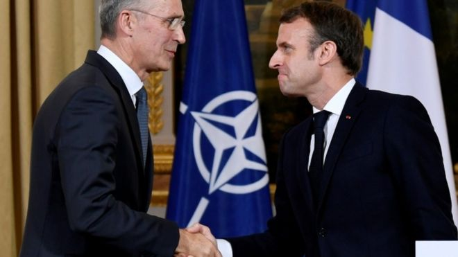 Jens Stoltenberg and Emmanuel Macron - 28 November