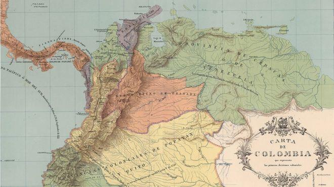 Mapa que muestra las divisiones coloniales en el Nuevo Mundo, en 1538. En verde se ve la Provincia de Venezuela (también llamada Provincia de Caracas).