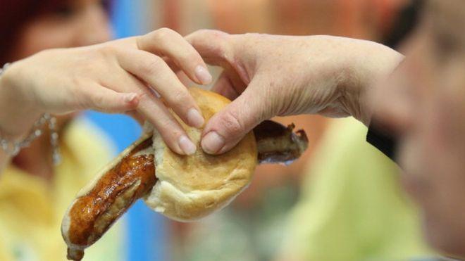 A Thuringian bratwurst sausage