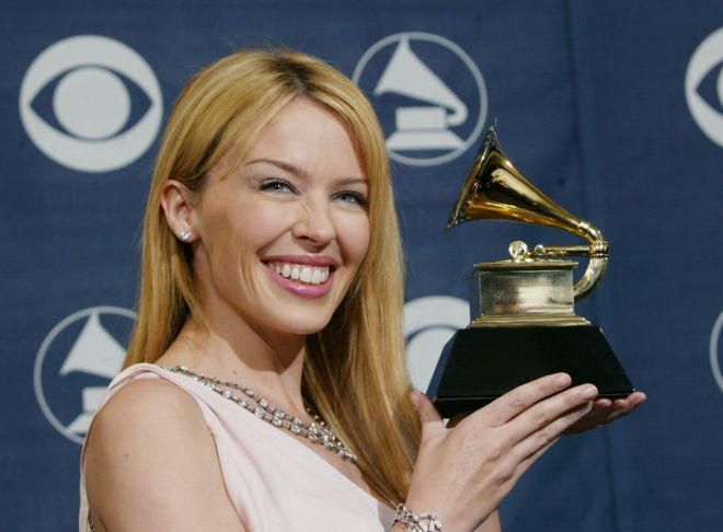Winner of best Dance Recording Musical Artist Kylie Minogue poses backstage in the Pressroom at the 46th Annual Grammy Awards held on 8 February 2004 at the Staples Center, in Los Angeles, California.