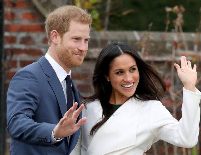 Prince Harry and Meghan Markle after announcing their engagement