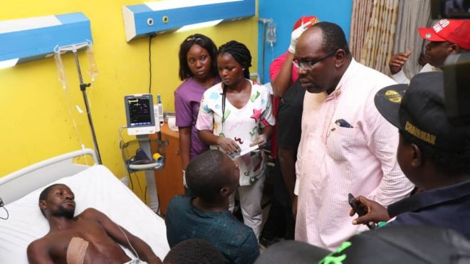 Image result for Dickson and Douye Diri visit victims in hospital