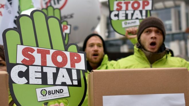 German top court backs eu canada trade deal ceta bbc news protests against ceta in front of the chancellery in berlin germany on 12 october platinumwayz