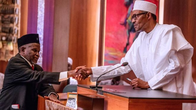 Buhari ask Senate to confam Tanko Muhammad as CJN - BBC News
