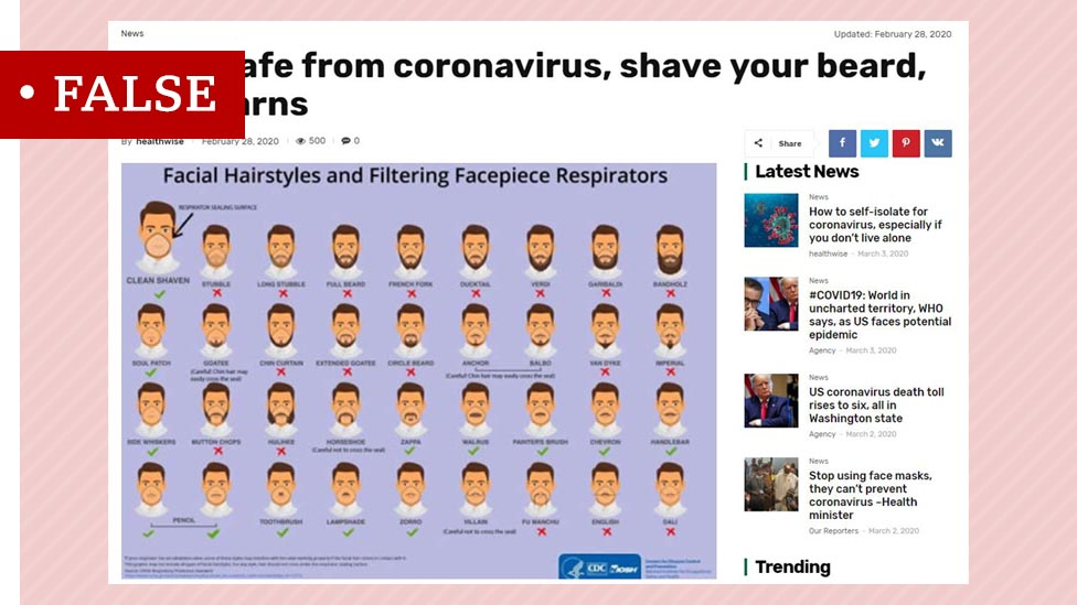 False headline claiming that the US health authorities recommend shaving off beards to protect against coronavirus