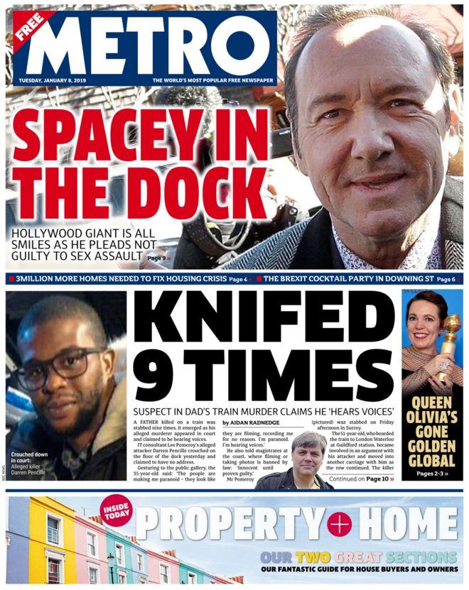 Metro newspaper Tuesday