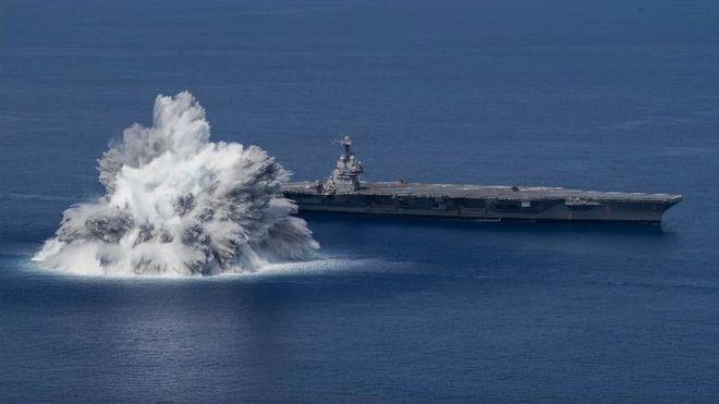 Ababen fashewa 40,000lb a kusa da jirgin dakon kaya mai lamba USS Gerald R Ford