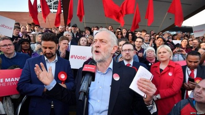 Jeremy Corbyn speaking at a Momentum rally in 2017
