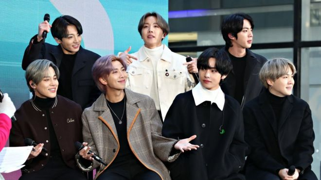 """(L-R) Jimin, Jungkook, RM, J-Hope, V, Jin, and SUGA of the K-pop boy band BTS visit the """"Today"""" Show at Rockefeller Plaza on February 21, 2020 in New York City."""