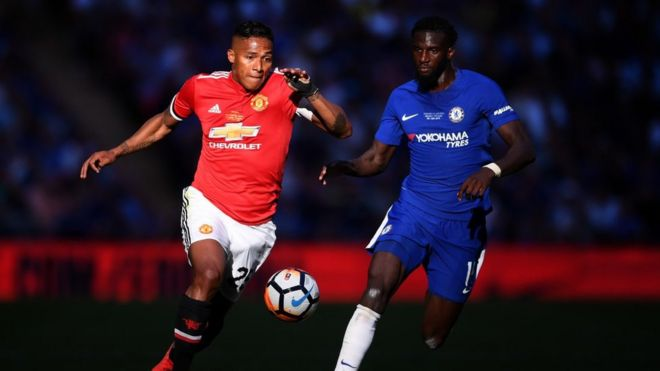 6ccfcac2107 Antonio Valencia of Manchester United is challenged by Tiemoue Bakayoko of Chelsea  during The Emirates FA