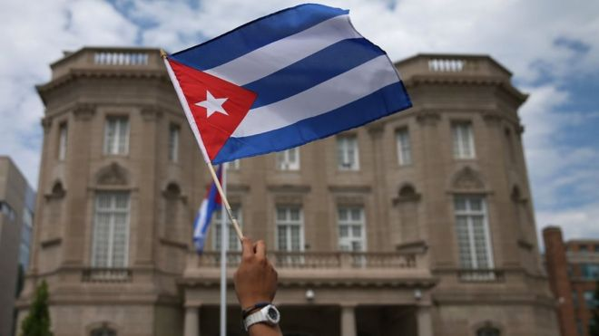 A Cuban flag waved in front of the embassy in Washington DC