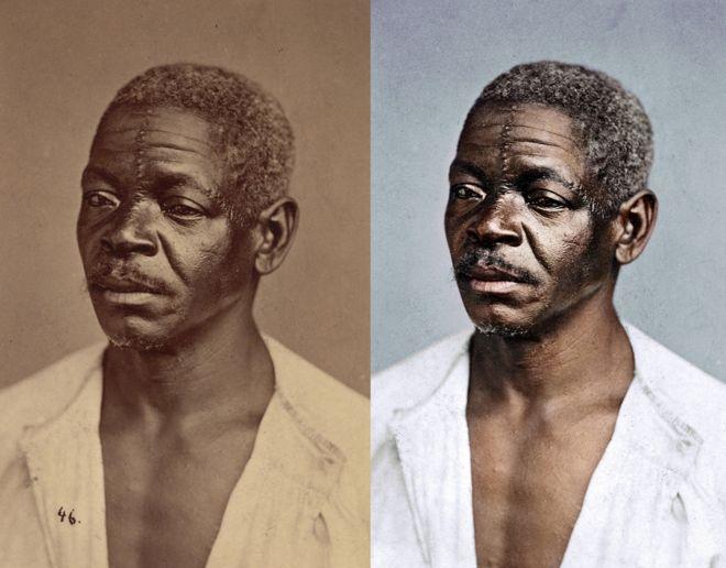 Colagem com retrato antes e depois da restauração