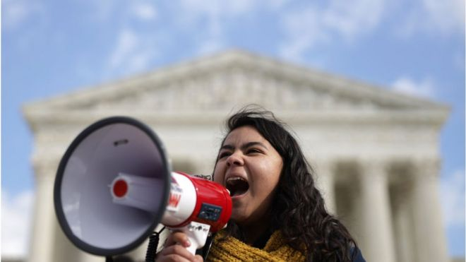 DACA student Anahi Figueroa Flores, who attends Georgetown University, speaks during a rally defending Deferred Action for Childhood Arrivals (DACA) in front of the US Supreme Court