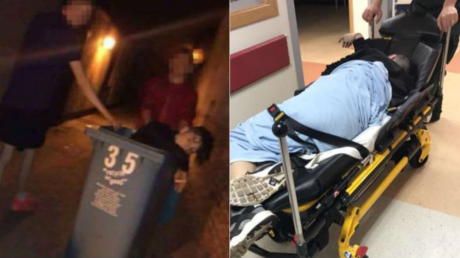 Chris Gorman in bin and then in hospital