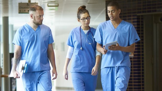 Stock picture of three junior doctors