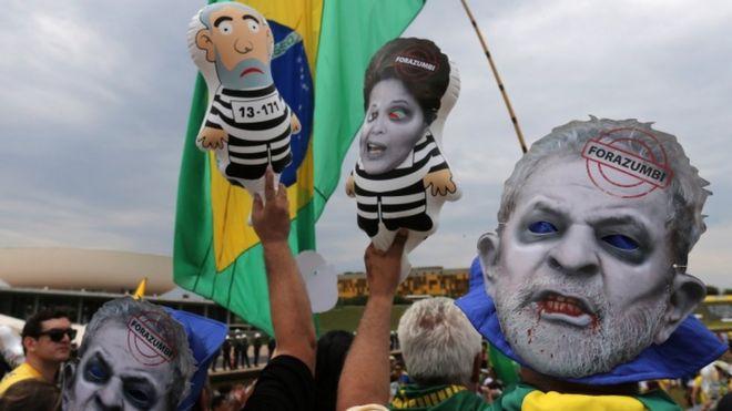 Протесты против Дилмы Руссефф и бывшего президента Лула в Бразилиа, 15 ноября 15