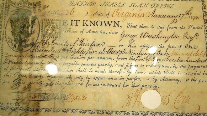 Эта старинная облигация подписана в 1792 году тогдашним президентом США Джорджем Вашингтоном. На ней впервые в американском финансовом документе используется значок доллара