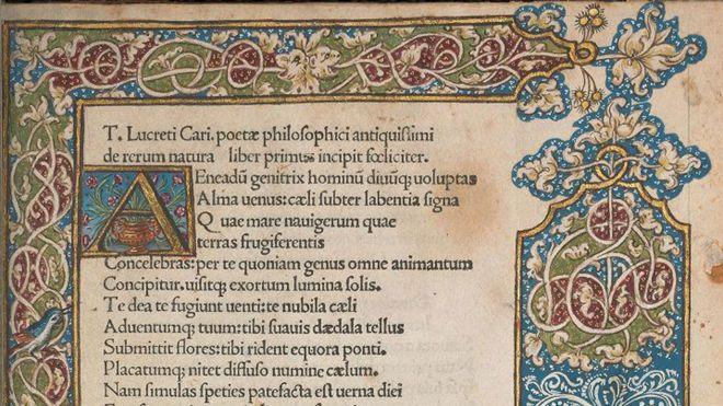 Parte superior de la primera página del poema en edición iluminada de Paulus Fridenperger, 1486