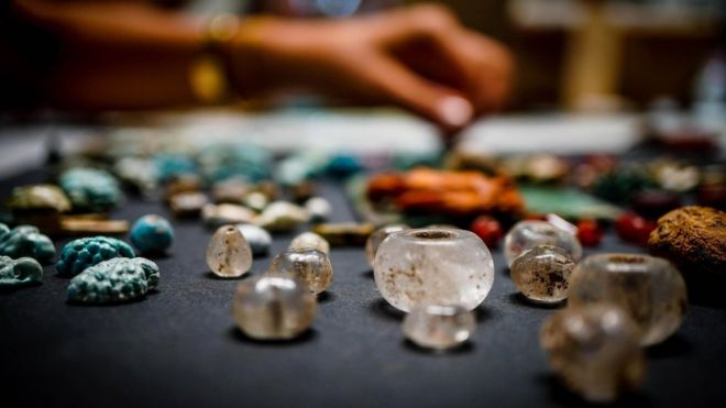 Artefacts thought to be part of a sorcerer's treasure trove on display in Pompeii (12 August)