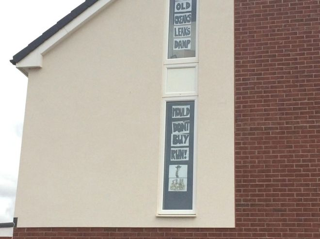 Signs put up in newbuild home