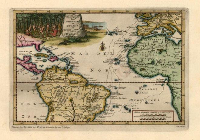 Mapa do Brasil e da África
