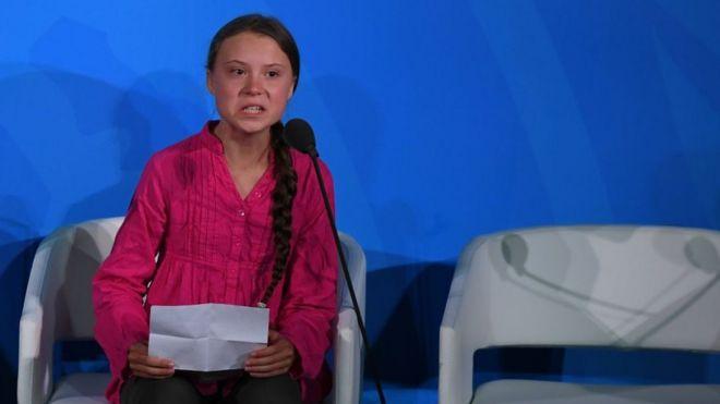 La adolescente sueca Greta Thunberg interviene en la cumbre del clima de la ONU, en Nueva York.