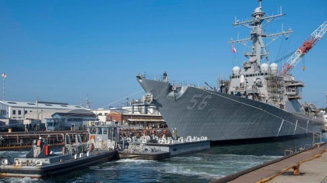 USS John S McCain docked in Yokosuka Japan