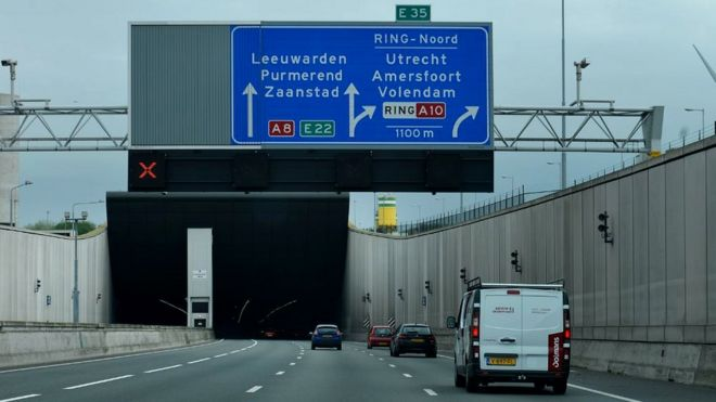 Dutch motorway in Amsterdam