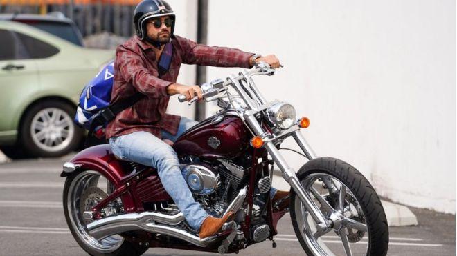 Actor Jesse Metcalfe riding a Harley Davidson
