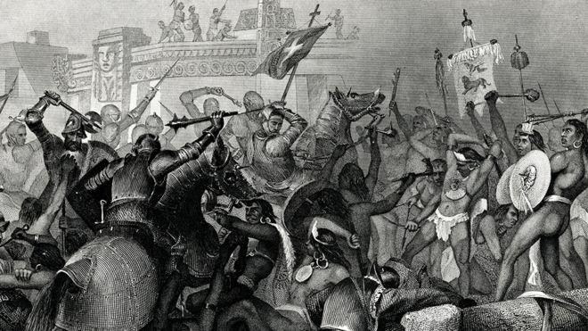 Ilustração mostra batalha de colonizadores com Astecas