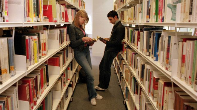 Two students in library (John Moores University)