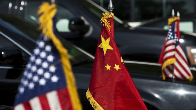 Flags of USA and China