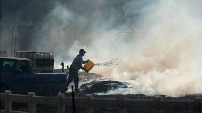Hombre arroja agua al incendio.