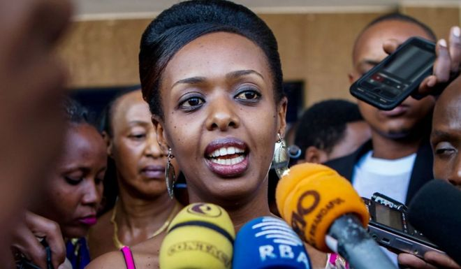 Diane Rwigara speaks to the media in Kigali