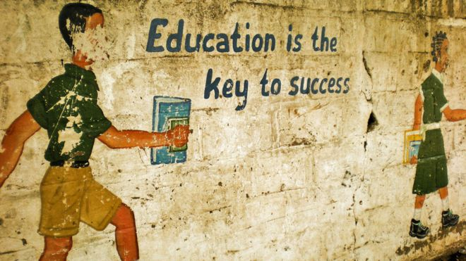 Painting on school wall in Senegal