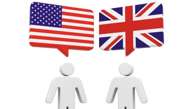 Graphic showing two men - one speaking American English and one speaking British English
