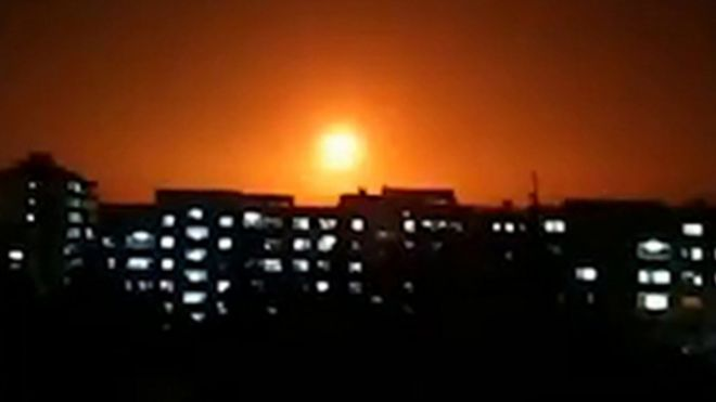 Image from a video released by the official Syrian Arab News Agency reportedly showed an explosion following an alleged Israeli air strike in Syria on 6 February