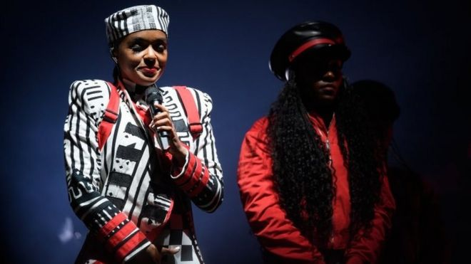 Janelle Monae on stage at Glastonbury 2019