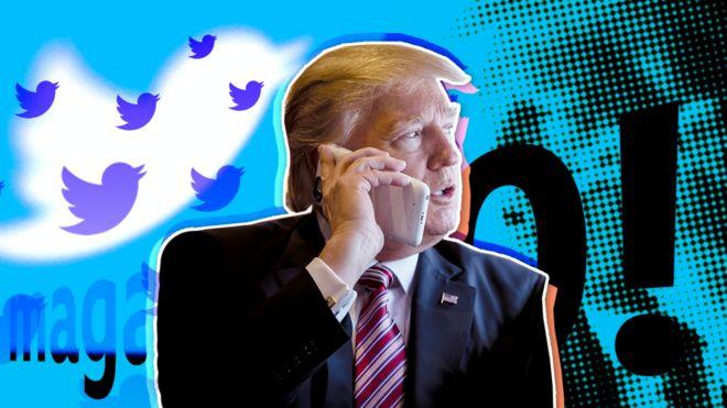 Donald Trump y el logo de Twitter