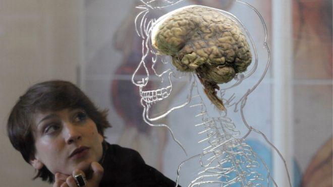 Mujer en una exposición