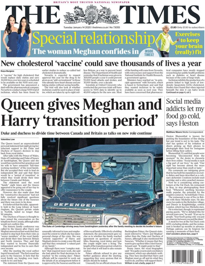 The Times front page 14 January