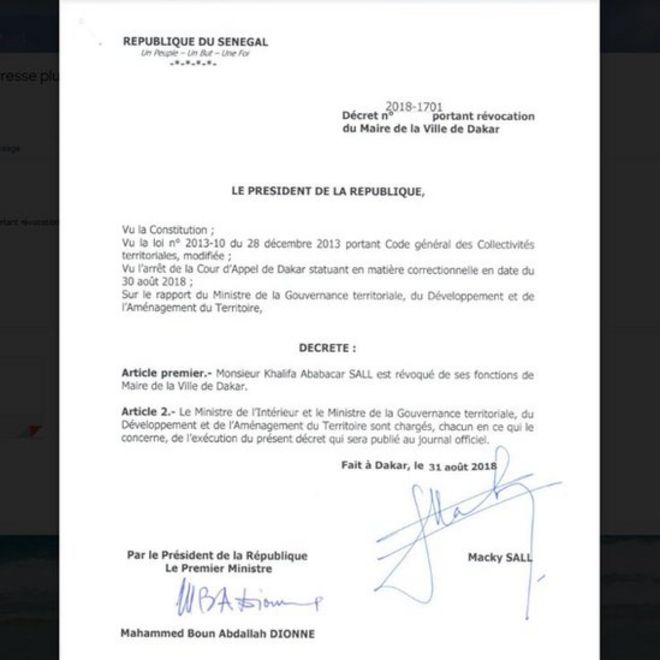 Le décret révoquant Khalifa Sall de la mairie de Dakar