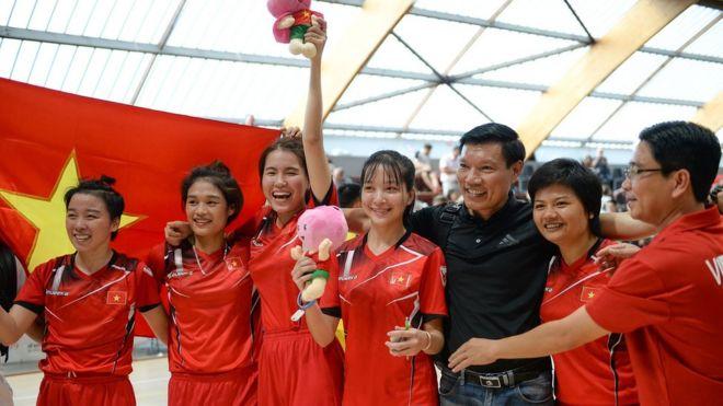 Đội nữ Việt Nam ngay sau chiến thắng trước đội Trung Quốc
