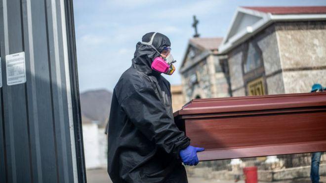 Trabajadores de salud cargando un ataúd de un fallecido de covid-19.