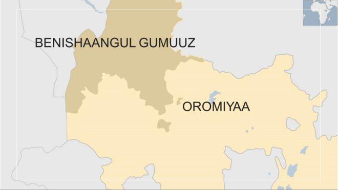 Kaartaa naannoolee Beenshanguul Gumuuzii fi Oromiyaa