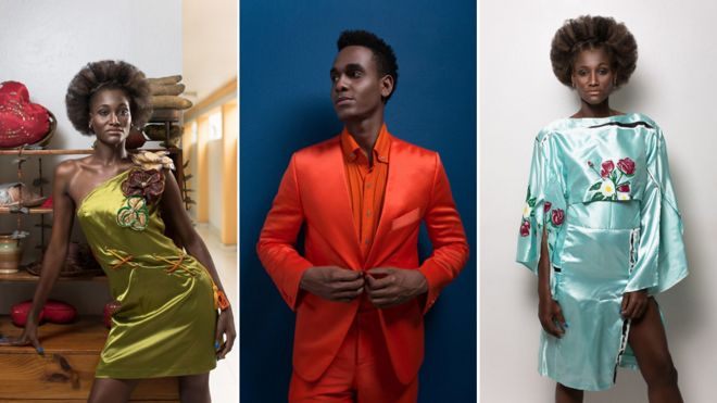 Models show off clothes designed by Michel Chataigne