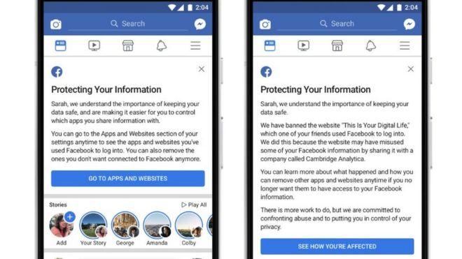 Los mensajes de Facebook que advierten si tu información fue compartida con Cambridge Analytica.