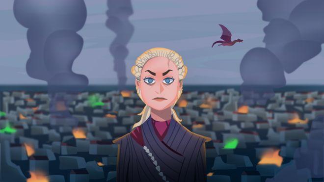 Ilustração mostra Daenerys Targaryen, com fumaça e dragão voando ao fundo