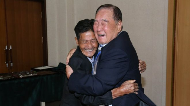 South Korean Ham Sung-Chan, 93 (R) meets with his North Korean brother Ham Dong-Chan, 79 (L)